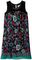 Us Angels Pleated Floral Print A-Line Dress (Big Kids)