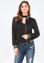 Bebe Faux Suede Bomber Jacket