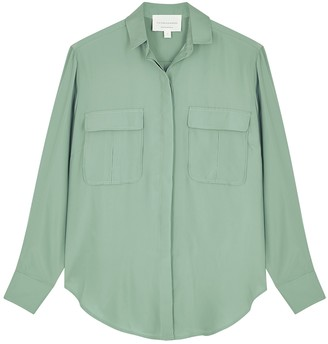 Viktoria & Woods Midas sage satin-twill blouse
