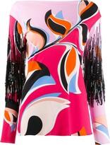 Emilio Pucci patterned fringe detail blouse