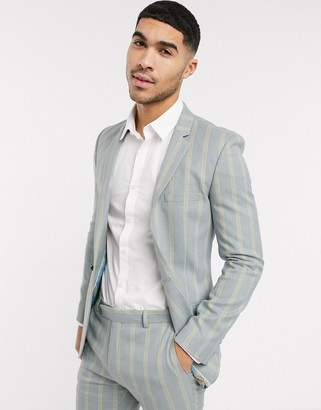 ASOS DESIGN super skinny suit jacket in ice gray and yellow bold stripe