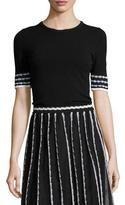 M Missoni Half-Sleeve Tee w/ Triangle Trim, Black