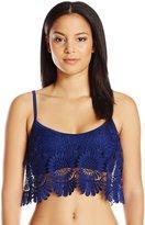 Jessica Simpson Women's Flower Power Crochet Flounce Bikini Top