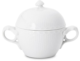 Royal Copenhagen White Fluted Half Lace Sugar Bowl
