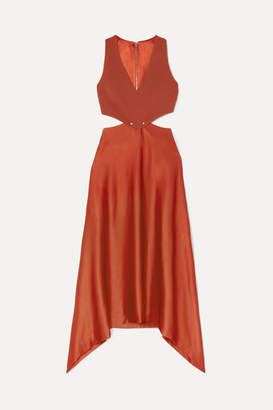 Dion Lee Embellished Cutout Cady And Satin Dress - Copper