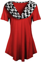 Lily Women's Tunics RED - Red & White Houndstooth-Contrast Cowl Neck Tunic - Women & Plus