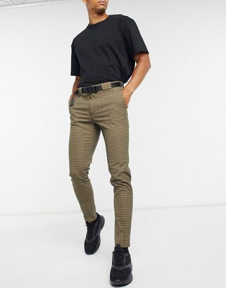 ASOS DESIGN super skinny smart pants in brown micro check and utility belt
