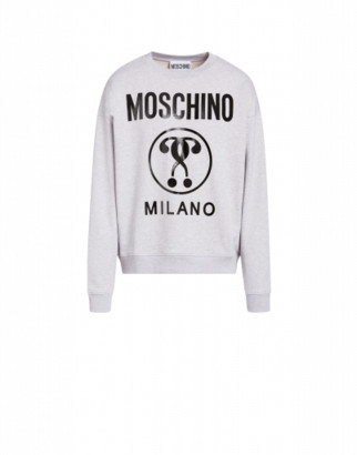 Moschino Cotton Sweatshirt With Double Question Mark Print Man Grey Size 50 It - (40 Us)