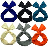Twist Bow Wired Headbands Scarf Wrap Hair Accessory Hairband by Sea Team(6 Packs Solid )