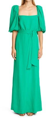 Johanna Ortiz Square Neck Herringbone Jacquard Maxi Dress