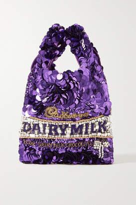 Anya Hindmarch Embellished Satin Tote - Purple