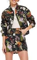 Topshop Hawaii Floral Crystal Denim Jacket