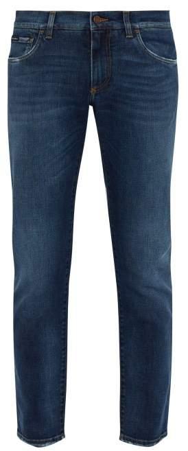 Dolce & Gabbana Logo Applique Pocket Slim Leg Jeans - Mens - Blue