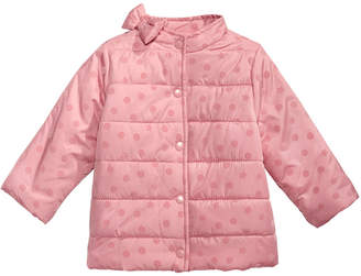 First Impressions Baby Girls Flocked Dot Puffer Jacket