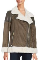 Michael Kors Faux Fur-Accented Faux Suede Coat