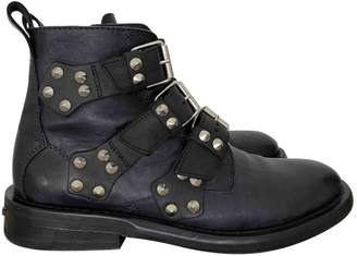 Zadig & Voltaire Laureen Spikes Navy Leather Boots