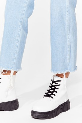 Nasty Gal Womens The Contrast is Behind Us Chunky Biker Boots - White