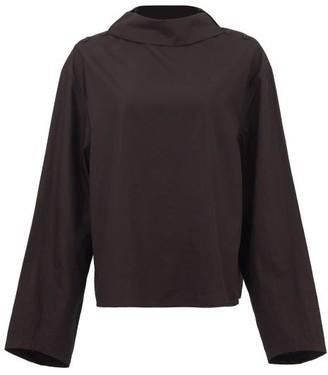 Lemaire Buttoned-shoulder Boat-neck Cotton-poplin Blouse - Womens - Black