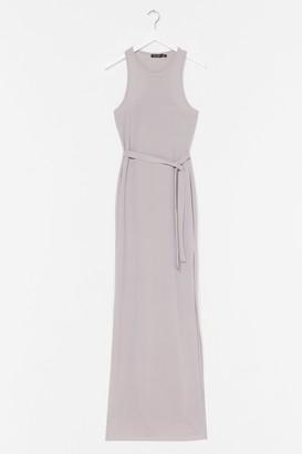 Nasty Gal Womens Slit 'Em Up Belted Maxi Dress - Light Grey