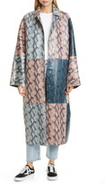 Stand Studio Stacy Snake Print Patchwork Faux Leather Coat