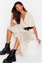 Nasty Gal Womens Whatever's Stripe for You Wrap Midi Dress - white - S
