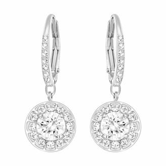 Swarovski Women's Angelic Attract Hoop Pierced Earrings Set of Circular White Earrings with Rhodium Plating