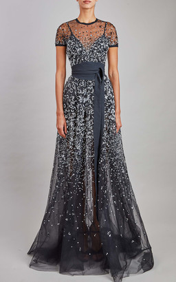 Elie Saab Bead Embroidered Maxi Dress