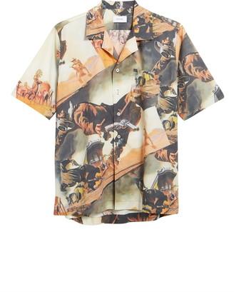Rhude Gunslingers Print Short Sleeve Button-Up Shirt