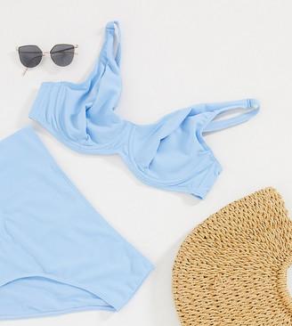 Peek & Beau Curve Exclusive frill underwired bikini top in powder blue