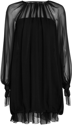 Alberta Ferretti Pleated Silk Mini Dress