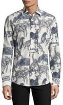 Salvatore Ferragamo Stamped Soft Wool Shirt