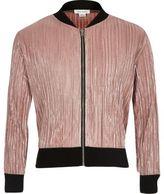 River Island Girls metallic pink plisse bomber jacket