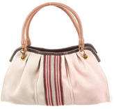 Bottega Veneta Striped Canvas Shoulder Bag
