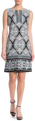 Sandra Darren Puff Patterned Ruffle Hem Dress
