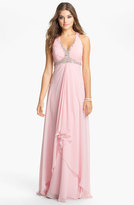Faviana Embellished Cross Back Chiffon Gown (Online Only)