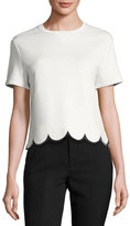RED Valentino Short-Sleeve Cotton Tee w/ Scalloped Hem, White