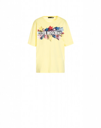 Love Moschino Glitter Stars Jersey T-shirt Woman Yellow Size 40 It - (6 Us)
