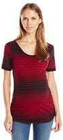 Three Seasons Maternity Women's Maternity Short Sleeve Stripe Criss Cross Back Top