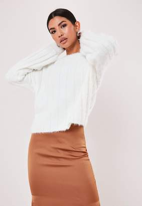 Missguided White Fluffy Ribbed Crew Neck Jumper
