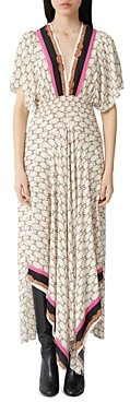Maje Logo Print Maxi Dress