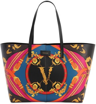 Versace Printed Leather Tote Bag