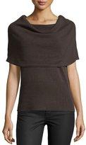 Halston Poncho Wool-Cashmere Sweater, Dark Fatigue