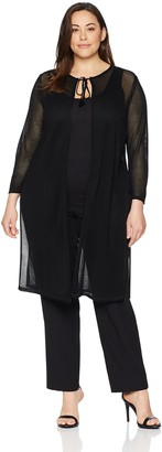 Anne Klein Women's Plus Size Perforated Long Duster