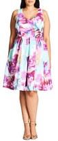 City Chic Bright Bouquet Print Fit & Flare Dress (Plus Size)
