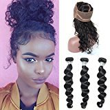 Vogue Queen Pre Plucked 360 Lace Band Frontal With Bundles 3 Pcs for Black Woman Virgin Human Hair Loose Wave 360 Lace Frontal With Baby Hair (12 12 12 Frontal 10, Loose Wave,3 Bundles with Frontal)