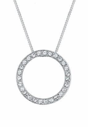 Elli Women's 925 Sterling Silver Xilion Cut Crystals Necklace with Pendant of Length 45 cm