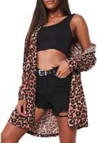 Missguided Leopard Print Jersey Shirt Dress