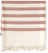 Williams-Sonoma Williams Sonoma Santa Barbara Stripe Pom Pom Throw, Chili