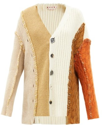 Marni Deconstructed Wool-blend Cardigan - Beige Multi