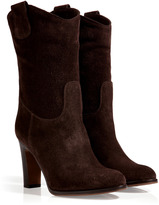 L'Autre Chose LAutre Chose Suede Western-Style Ankle Boots in Dark Brown